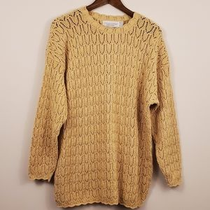 Vintage canary yellow knit CREW neck sweater L